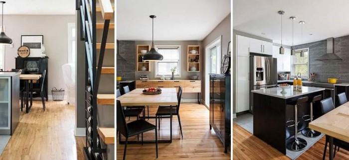 mariage du bois dans une cuisine moderne pas d 39 hesitation parquet bois ou stratifi en vente. Black Bedroom Furniture Sets. Home Design Ideas